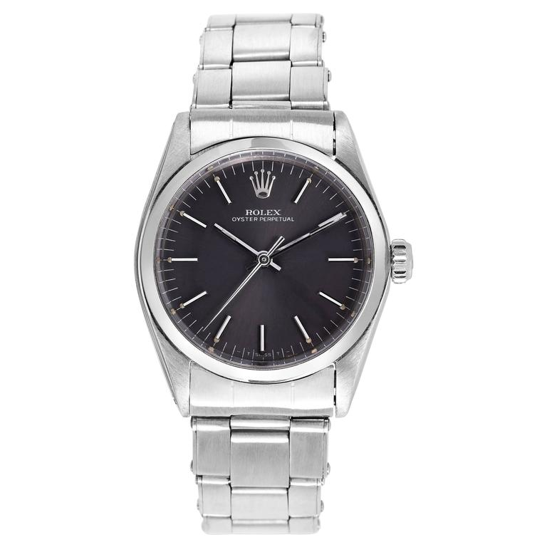 Vintage Rolex Stainless Steel Oyster Perpetual Wristwatch For Sale