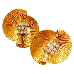 Cartier Vintage Diamond Earrings 18 Karat Yellow Gold