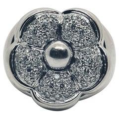 Diamond Flower Ring White Gold 18 K