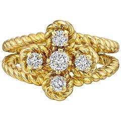 Boucheron Diamond Gold Clover Ring