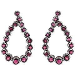 Pink Tourmaline and Diamond Victorian Front Hoop Earrings