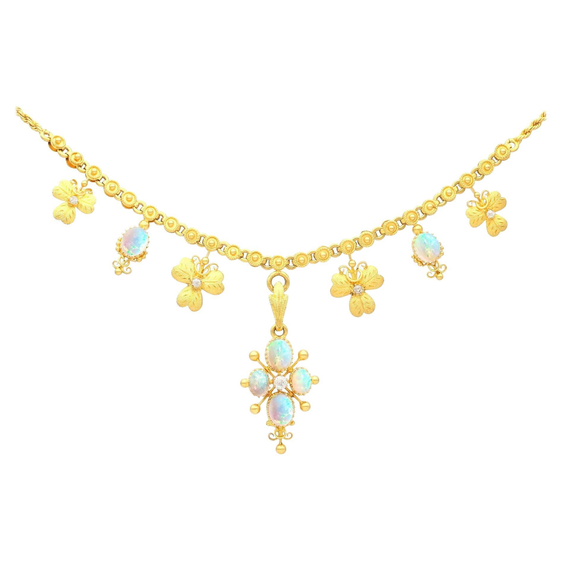 Antique 3.45 Carat Opal and Diamond 22k Yellow Gold Necklace Circa 1890