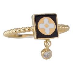 Dainty Zircon Enameled and Lapis Ring, 14K Gold, Minimalist Style Ring