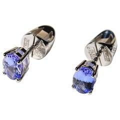 Tanzanite White Gold Earrings Studs Gay Blue Indigo Natural Tanzanian Minimalism