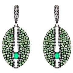 Emerald and Tsavorite Victorian Dangle Earrings with Diamond