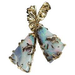 Boulder Opal Gold Earrings Triangle Australian Gemstone Shimmering Rainbowlike
