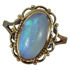 Beautiful Natural Opal and 9ct Gold Ladies Solitaire Ring