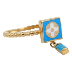 14K Gold Dainty Turquoise Enameled and Turquoise Ring