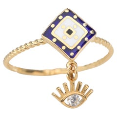 14K Gold Dainty Cable Ring with Eye Pendant and Lapis Enameled