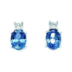 3.40 Carat Total Blue Sapphire, Princess Cut Diamond White Gold Post Earrings
