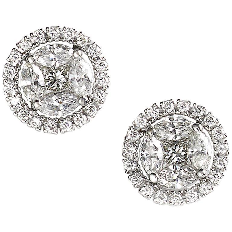 Diamond Cluster Ear Studs