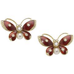 Red Enamel Pearl Diamond Gold Butterfly Earrings
