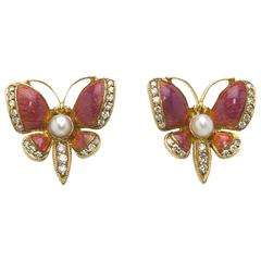 Pink Enamel Pearl Diamond Gold Butterfly Earrings