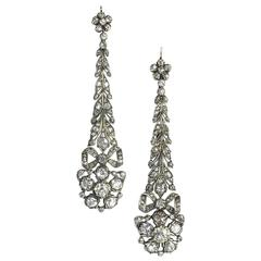 Long Diamond Festoon  Drop Earrings