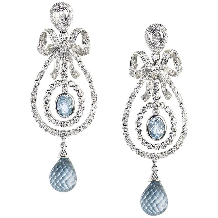 Blue Topaz Diamond Gold Drop Earrings 1