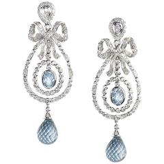 Blue Topaz Diamond Gold Drop Earrings