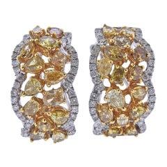 GIA Fancy Brown Yellow White Diamond Gold Earrings