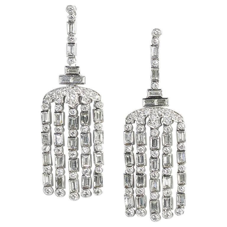 Diamond Platinum Drop Earrings