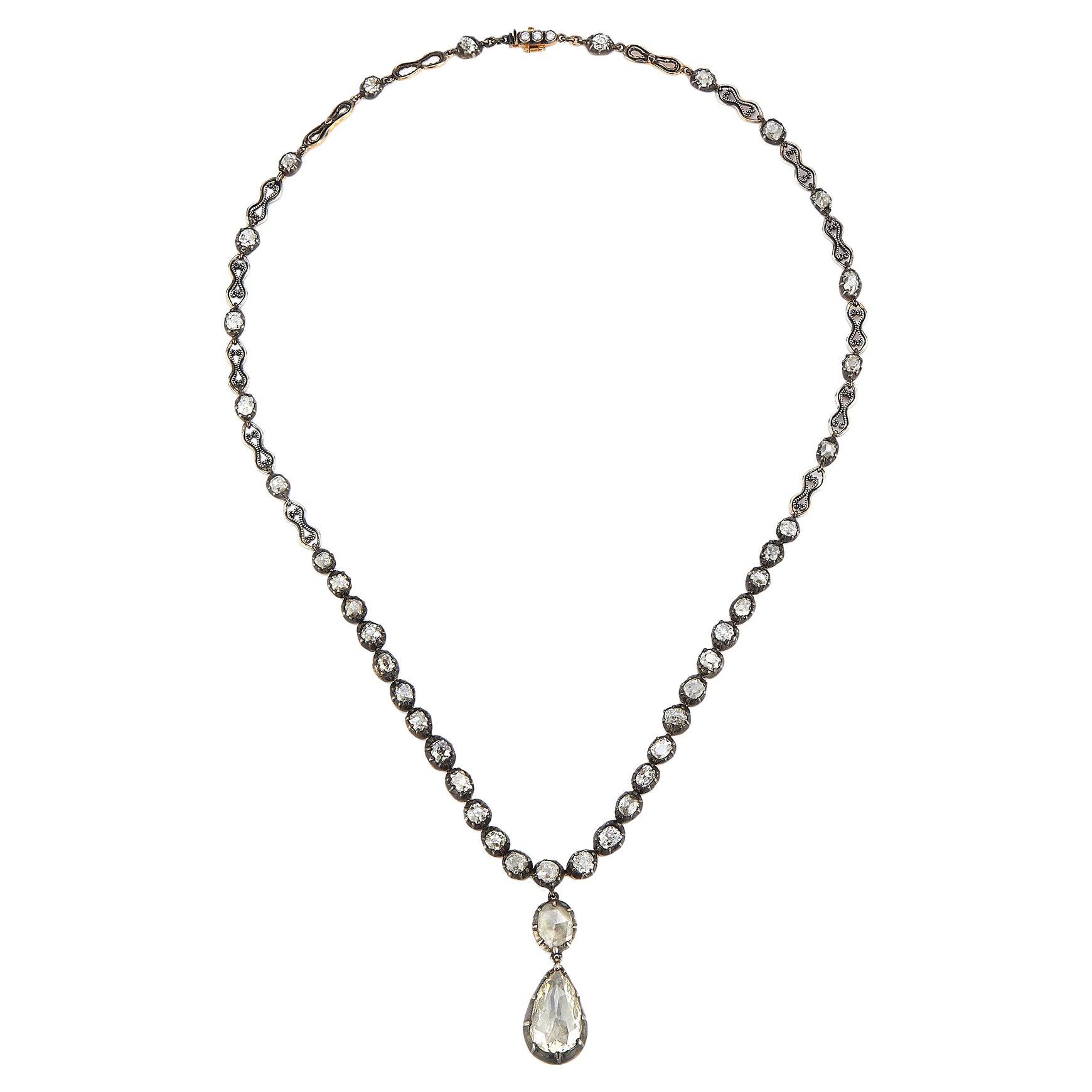 Victorian Pear Shape Rose Cut Diamond Necklace