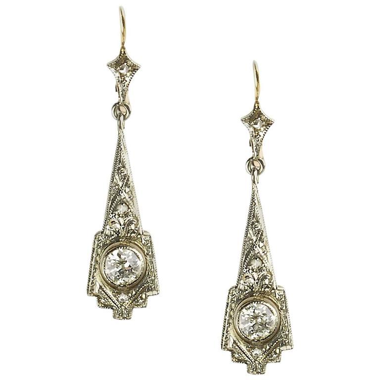 Diamond Gold Drop Earrings