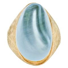 Estate Collectible Modernist Burle Marx 18k Gold Carved Aquamarine Unisex Ring