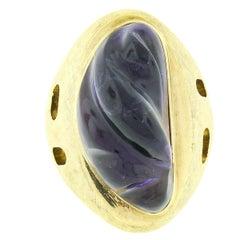 Collectible Modernist Burle Marx 18k Gold Carved Amethyst Florentine Finish Ring