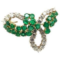 Luminous Emerald and Diamond Brooch in 18 Karat White and Yellow Gold