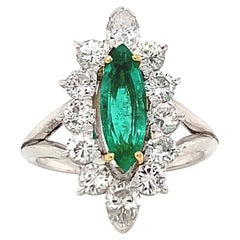 Vintage French Emerald Diamond Platinum & 18k Yellow Gold Cluster Ring