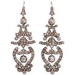 Diamond Silver Gold Drop Earrings