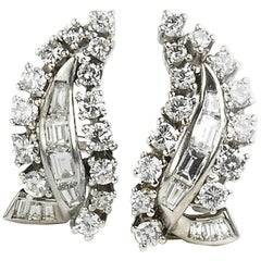 Diamond clip earrings