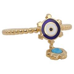 14K Gold Dainty Eye Enameled Rudder Ring with Turquoise Pendant