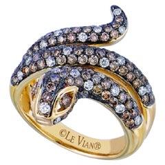 LeVian 14K Yellow Gold Round Chocolate Brown Diamond Beautiful Pretty Snake Ring