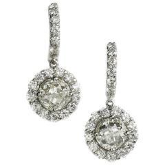 8.44 Carats Diamond Gold Cluster Drop Earrings