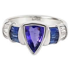 LeVian 18K White Gold Blue Tanzanite Sapphire Baguette Diamond Cocktail Ring