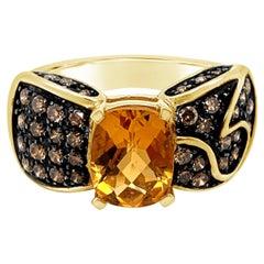 New LeVian Ring Cinnamon Citrine Chocolate Diamonds 14K Honey Gold