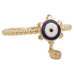 14K Gold Dainty Eye Enameled Rudder Ring with Pendant
