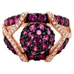 LeVian Ring Bubble Gum Pink Sapphire Vanilla Diamonds 14K Strawberry Gold