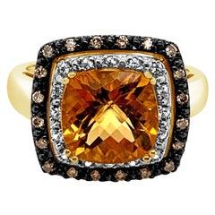 LeVian Ring Cinnamon Citrine White Sapphire Chocolate Diamonds 14K Honey Gold