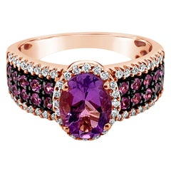 LeVian Ring Amethyst Bubble Gum Pink Sapphire Vanilla Diamonds 14K Rose Gold