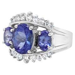 LeVian 14K White Gold Blue Tanzanite Round Diamond Fancy Pretty Cocktail Ring