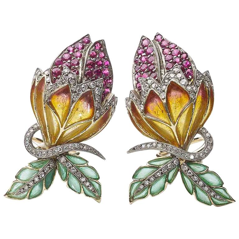 Enamel Diamond Flower Earrings