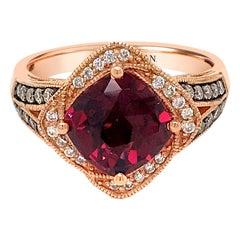 LeVian 14K Rose Gold Red Rhodolite Garnet Gemstone Round Diamond Halo Ring