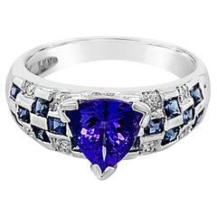 LeVian 18K White Gold Blue Tanzanite Sapphire Round Diamond Bezel Cocktail Ring