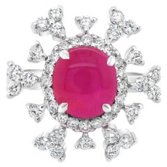 GRS Certified 'Snowflake Charm' No Heat Burma Star Wedding Ring