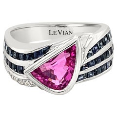 LeVian 18K White Gold Pink Sapphire Gemstone Round Diamond Cocktail Bezel Ring