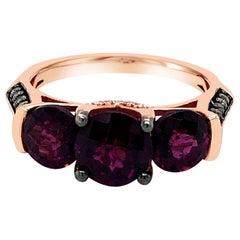 LeVian 14K Rose Gold Rhodolite Garnet Round Chocolate Brown Diamond Classic Ring