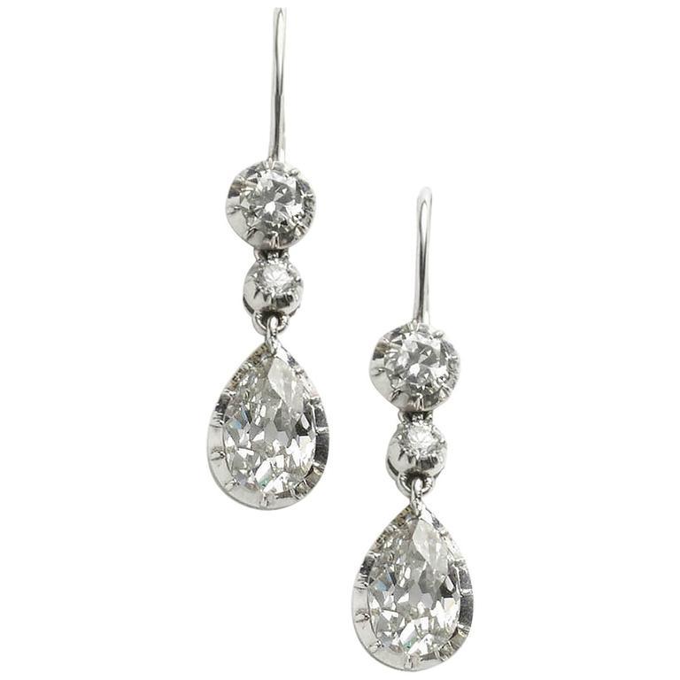 Antique Old Cut Pear Shaped Diamond Drop Earrings