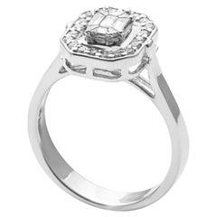 18 Karat White Gold Illusion Setting Diamond Ring