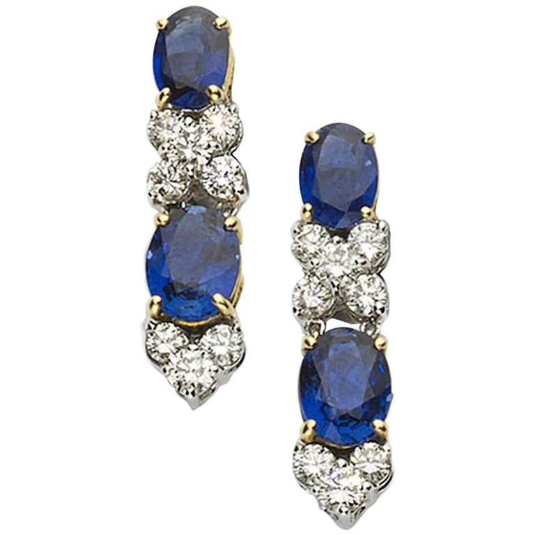 Elegant Sapphire Diamond Drop Earrings
