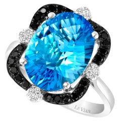 LeVian 14K White Gold Blue Topaz Round Black Diamonds Beauty Pretty Fancy Ring